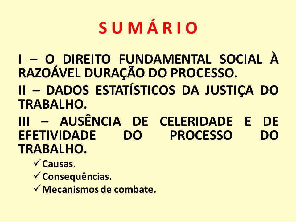 S U M Á R I O I – O DIREITO FUNDAMENTAL SOCIAL À RAZOÁVEL DURAÇÃO DO PROCESSO.