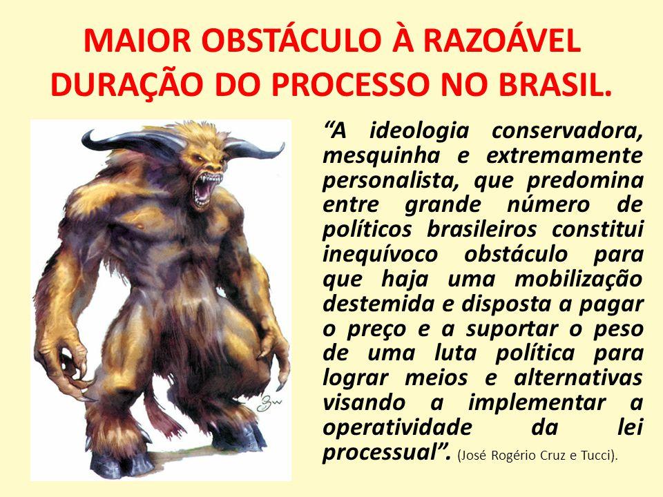 MAIOR OBSTÁCULO À RAZOÁVEL DURAÇÃO DO PROCESSO NO BRASIL.