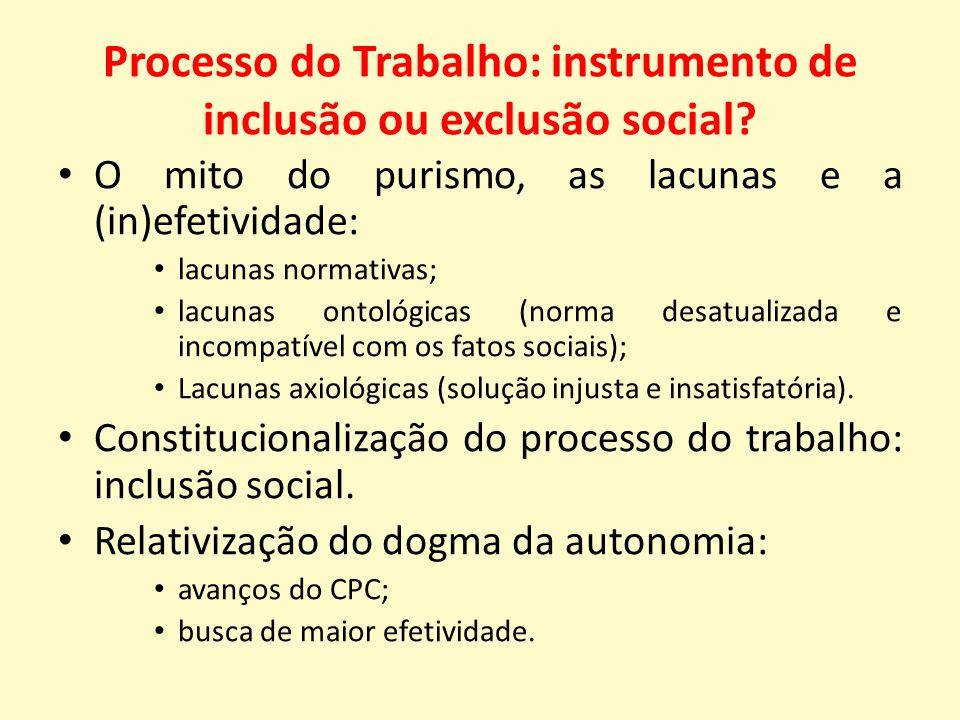 Processo do Trabalho: instrumento de inclusão ou exclusão social.