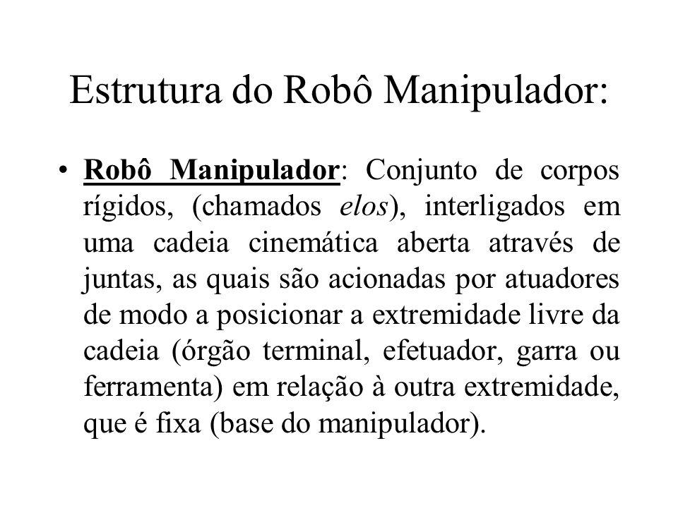 Estrutura do Robô Manipulador: Robô Manipulador: Conjunto de corpos rígidos, (chamados elos), interligados em uma cadeia cinemática aberta através de juntas, as quais são acionadas por atuadores de modo a posicionar a extremidade livre da cadeia (órgão terminal, efetuador, garra ou ferramenta) em relação à outra extremidade, que é fixa (base do manipulador).