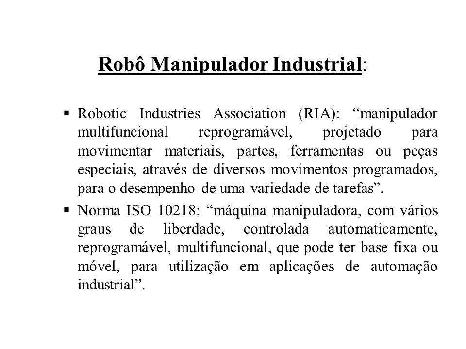 Robô Manipulador Industrial:  Robotic Industries Association (RIA): manipulador multifuncional reprogramável, projetado para movimentar materiais, partes, ferramentas ou peças especiais, através de diversos movimentos programados, para o desempenho de uma variedade de tarefas .