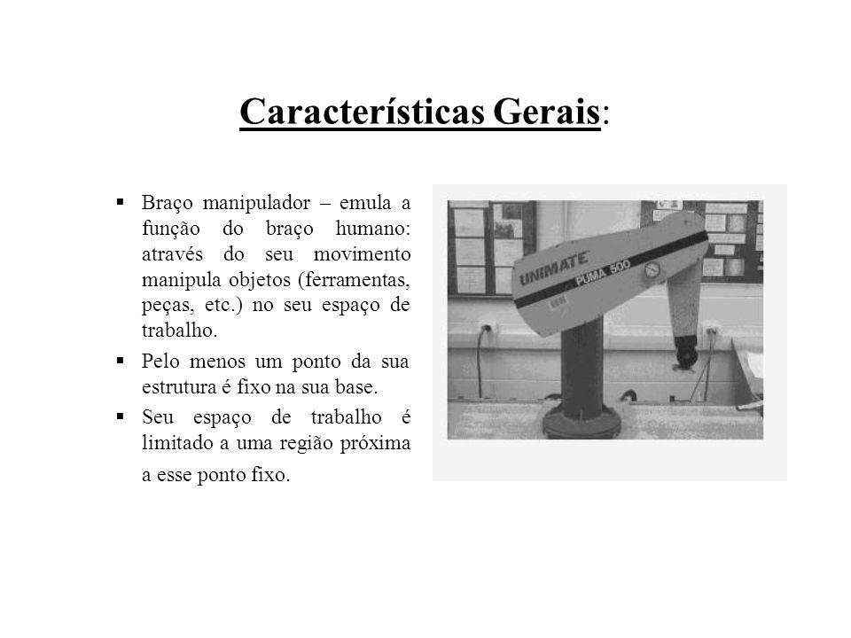 Características Gerais:  Braço manipulador – emula a função do braço humano: através do seu movimento manipula objetos (ferramentas, peças, etc.) no