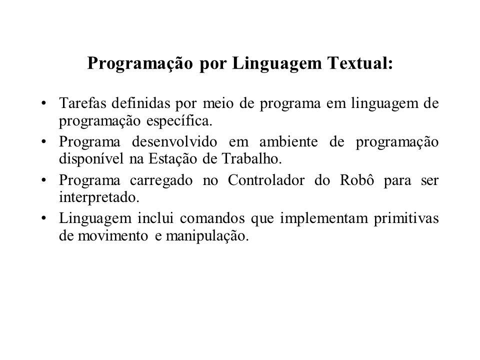 Programação por Linguagem Textual: Tarefas definidas por meio de programa em linguagem de programação específica. Programa desenvolvido em ambiente de