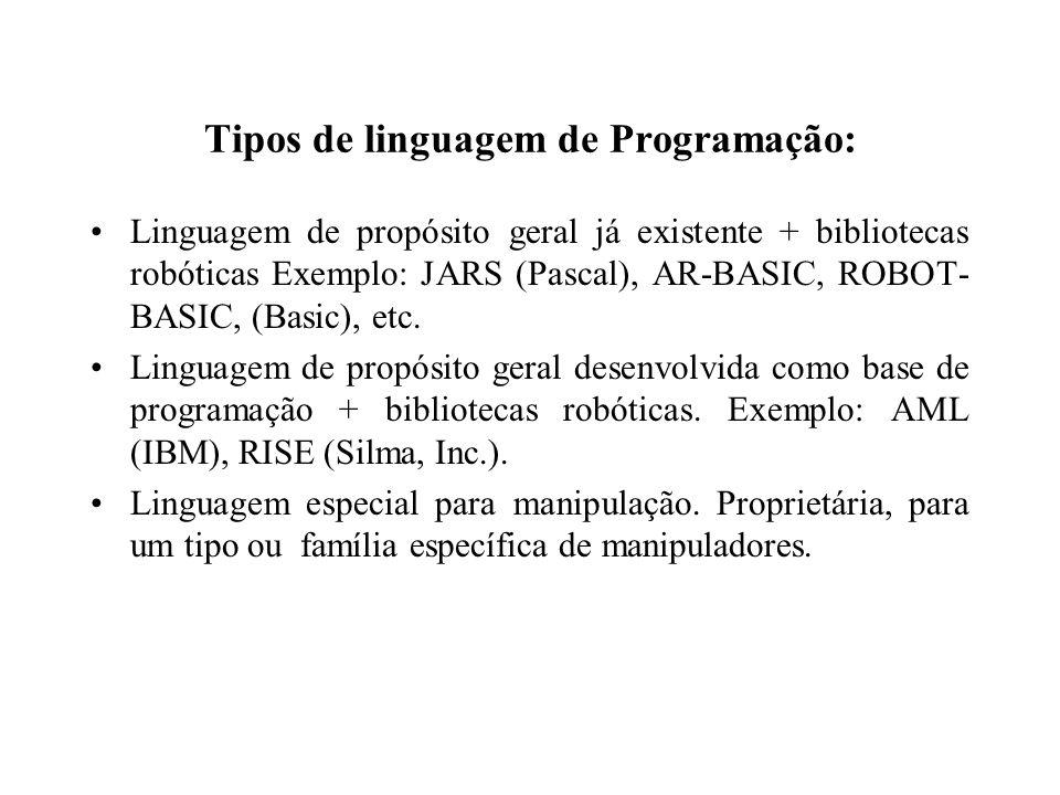 Tipos de linguagem de Programação: Linguagem de propósito geral já existente + bibliotecas robóticas Exemplo: JARS (Pascal), AR-BASIC, ROBOT- BASIC, (Basic), etc.