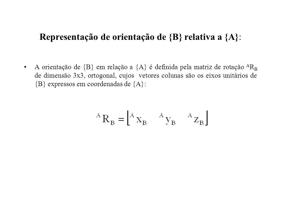 Representação de orientação de {B} relativa a {A}: A orientação de {B} em relação a {A} é definida pela matriz de rotação A R B de dimensão 3x3, ortogonal, cujos vetores colunas são os eixos unitários de {B} expressos em coordenadas de {A}: