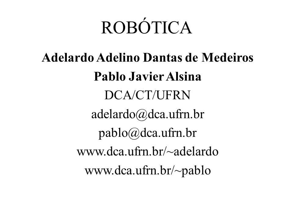 ROBÓTICA Adelardo Adelino Dantas de Medeiros Pablo Javier Alsina DCA/CT/UFRN adelardo@dca.ufrn.br pablo@dca.ufrn.br www.dca.ufrn.br/~adelardo www.dca.