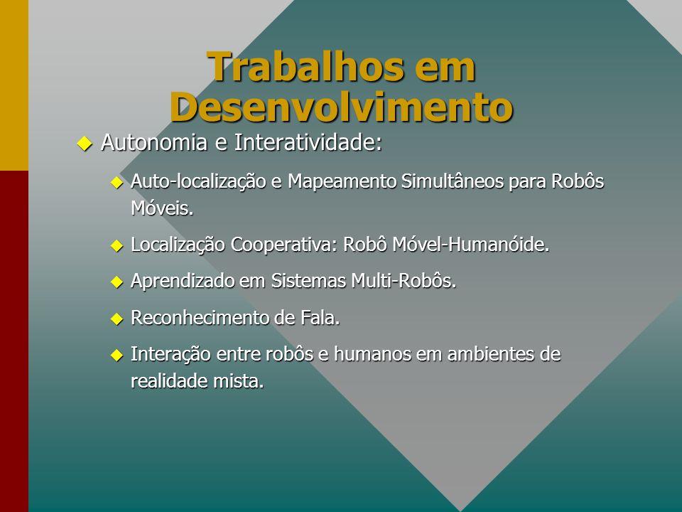 Trabalhos em Desenvolvimento u Autonomia e Interatividade: u Auto-localização e Mapeamento Simultâneos para Robôs Móveis. u Localização Cooperativa: R