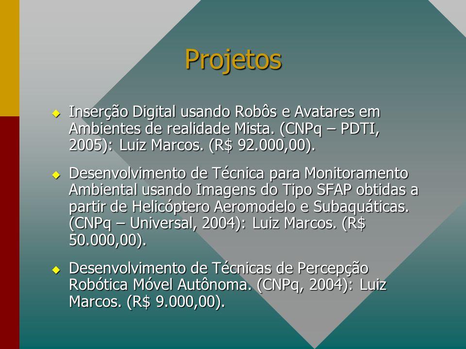 Projetos  Inserção Digital usando Robôs e Avatares em Ambientes de realidade Mista. (CNPq – PDTI, 2005): Luiz Marcos. (R$ 92.000,00).  Desenvolvimen
