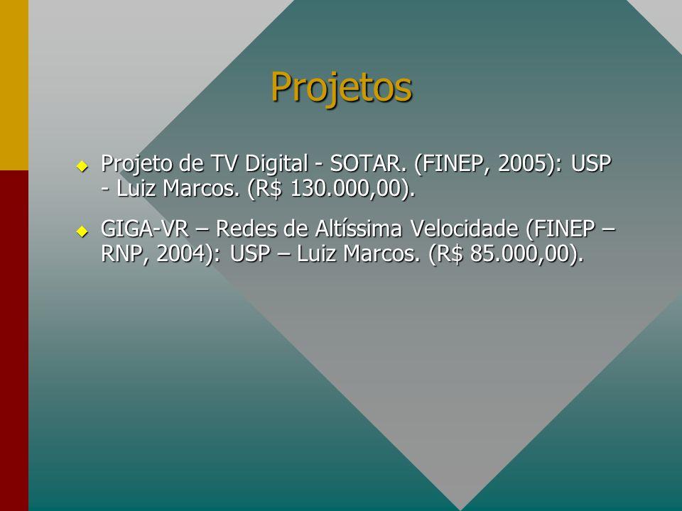 Projetos  Projeto de TV Digital - SOTAR. (FINEP, 2005): USP - Luiz Marcos. (R$ 130.000,00).  GIGA-VR – Redes de Altíssima Velocidade (FINEP – RNP, 2