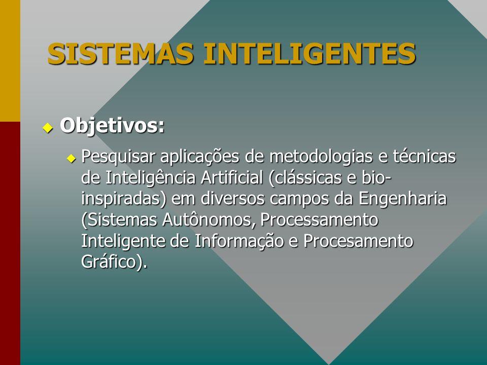 SISTEMAS INTELIGENTES  Objetivos:  Pesquisar aplicações de metodologias e técnicas de Inteligência Artificial (clássicas e bio- inspiradas) em diver