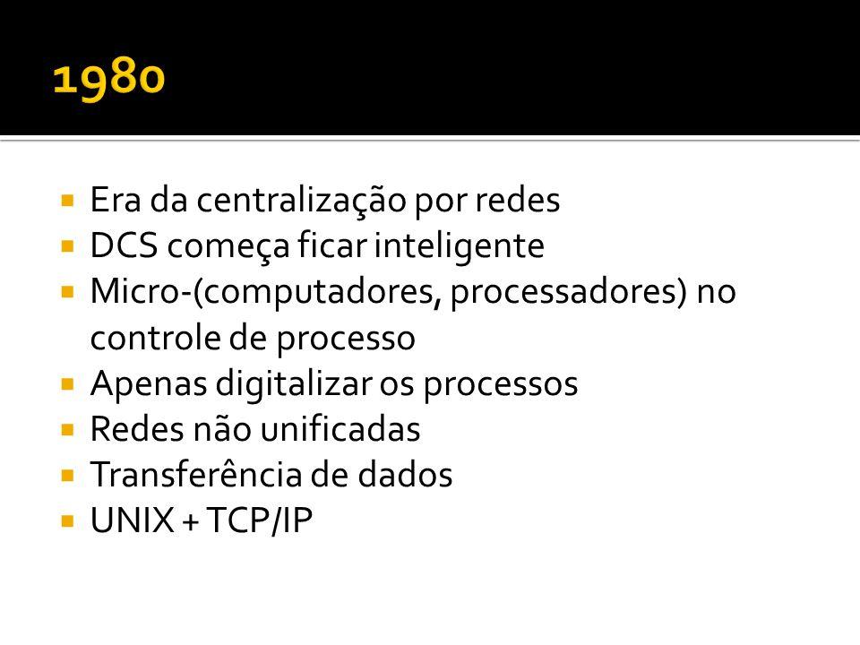  Era da centralização por redes  DCS começa ficar inteligente  Micro-(computadores, processadores) no controle de processo  Apenas digitalizar os processos  Redes não unificadas  Transferência de dados  UNIX + TCP/IP