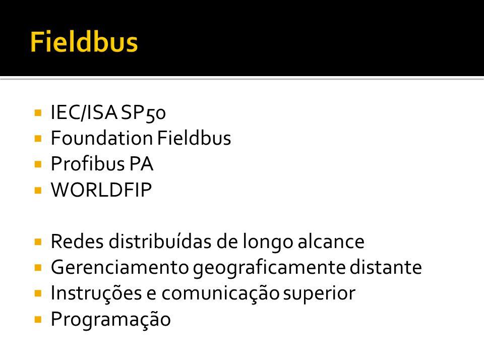  IEC/ISA SP50  Foundation Fieldbus  Profibus PA  WORLDFIP  Redes distribuídas de longo alcance  Gerenciamento geograficamente distante  Instruções e comunicação superior  Programação