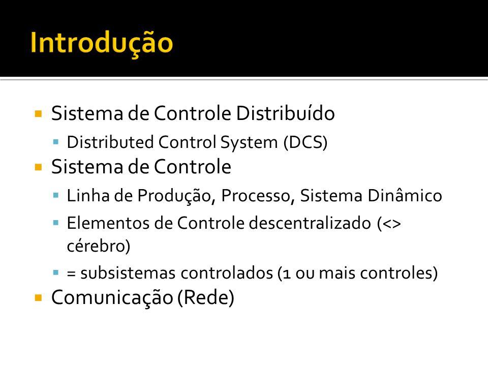  Sistema de Controle Distribuído  Distributed Control System (DCS)  Sistema de Controle  Linha de Produção, Processo, Sistema Dinâmico  Elementos de Controle descentralizado (<> cérebro)  = subsistemas controlados (1 ou mais controles)  Comunicação (Rede)