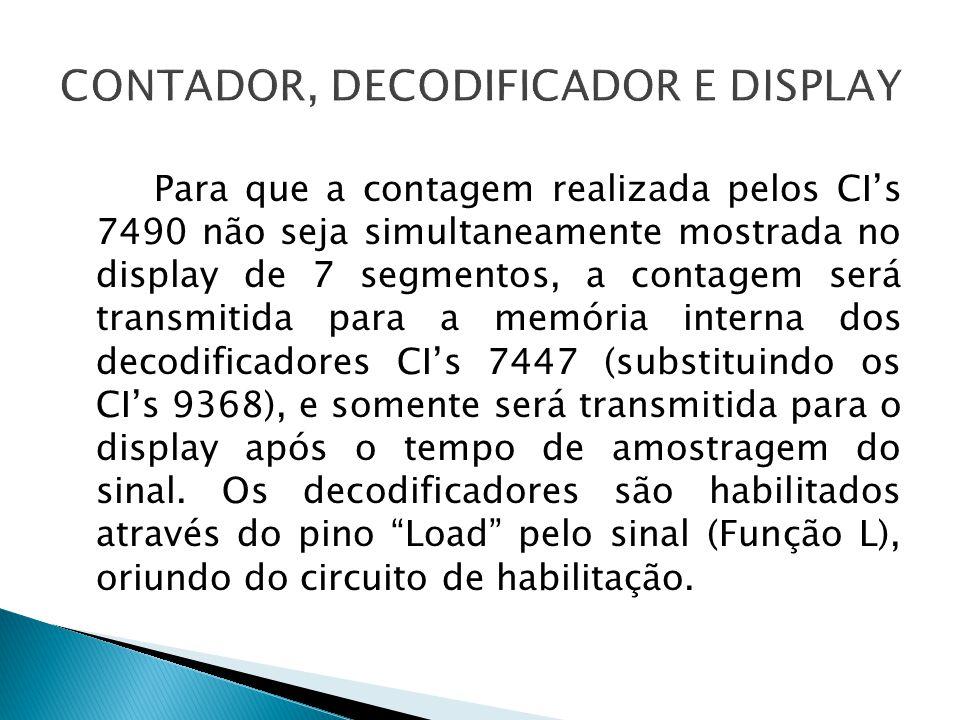 Para que a contagem realizada pelos CI's 7490 não seja simultaneamente mostrada no display de 7 segmentos, a contagem será transmitida para a memória