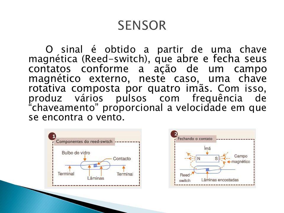 O sinal é obtido a partir de uma chave magnética (Reed-switch), que abre e fecha seus contatos conforme a ação de um campo magnético externo, neste ca