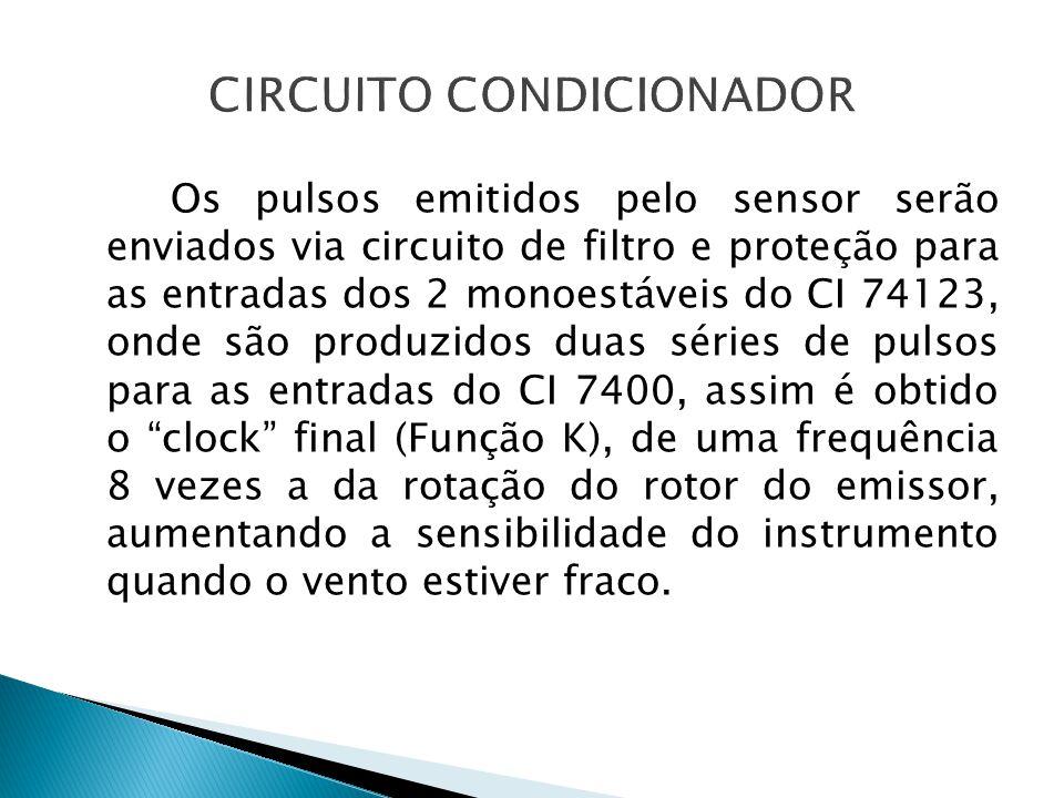 Os pulsos emitidos pelo sensor serão enviados via circuito de filtro e proteção para as entradas dos 2 monoestáveis do CI 74123, onde são produzidos d