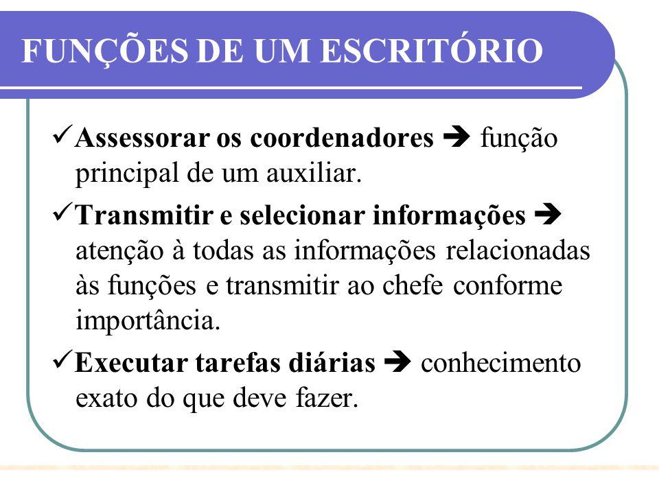 FUNÇÕES DE UM ESCRITÓRIO Assessorar os coordenadores  função principal de um auxiliar. Transmitir e selecionar informações  atenção à todas as infor