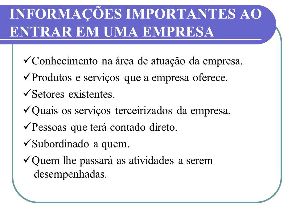 INFORMAÇÕES IMPORTANTES AO ENTRAR EM UMA EMPRESA Conhecimento na área de atuação da empresa. Produtos e serviços que a empresa oferece. Setores existe