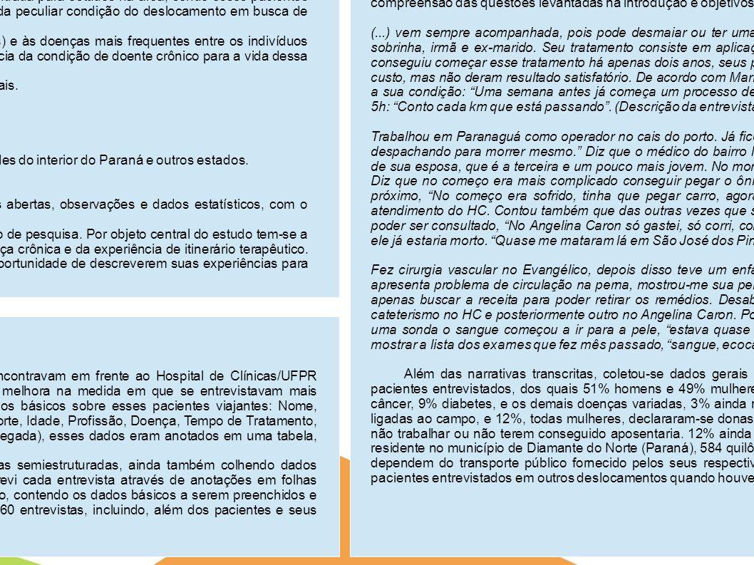 Doenças crônicas e deslocamentos: o caso dos pacientes viajantes em tratamento no Hospital de Clínicas/UFPR. Alexandre Pilan Zanoni Iniciação Científi