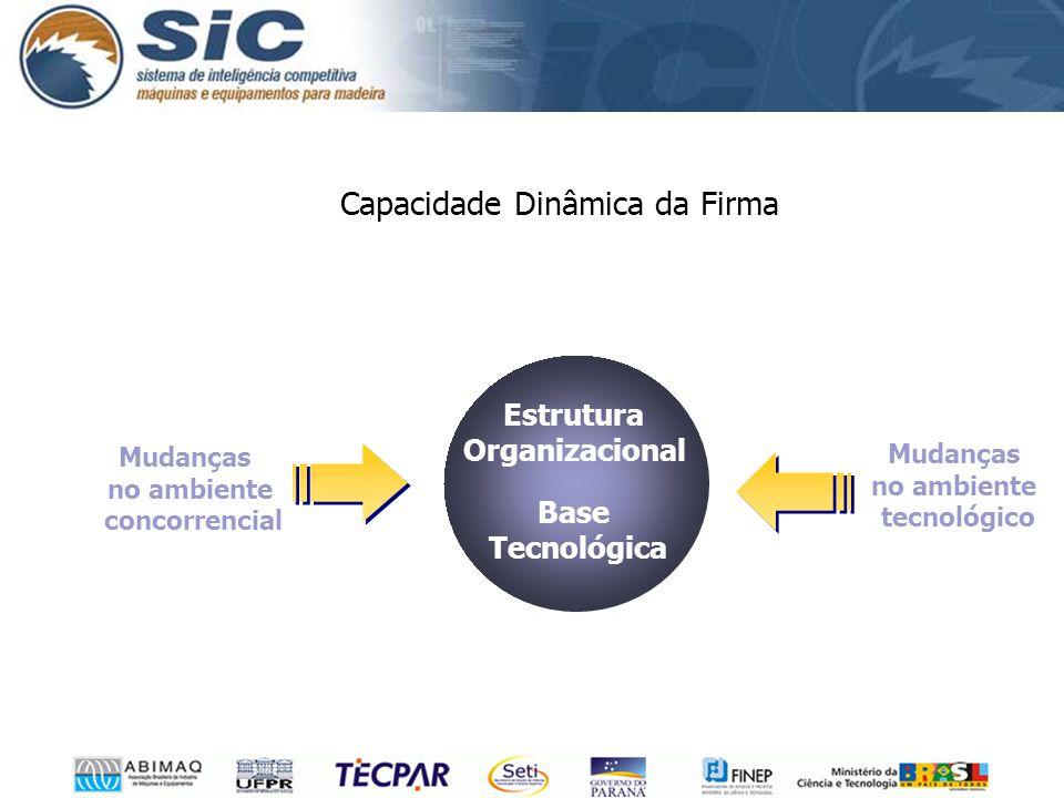 Capacidade Dinâmica da Firma Mudanças no ambiente concorrencial Mudanças no ambiente tecnológico Estrutura Organizacional Base Tecnológica