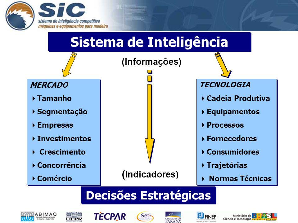 MERCADO  Tamanho  Segmentação  Empresas  Investimentos  Crescimento  Concorrência  Com é rcio MERCADO  Tamanho  Segmentação  Empresas  Investimentos  Crescimento  Concorrência  Com é rcio TECNOLOGIA  Cadeia Produtiva  Equipamentos  Processos  Fornecedores  Consumidores  Trajetórias  Normas T é cnicas TECNOLOGIA  Cadeia Produtiva  Equipamentos  Processos  Fornecedores  Consumidores  Trajetórias  Normas T é cnicas Sistema de Inteligência Decisões Estratégicas (Informações) ( Indicadores)