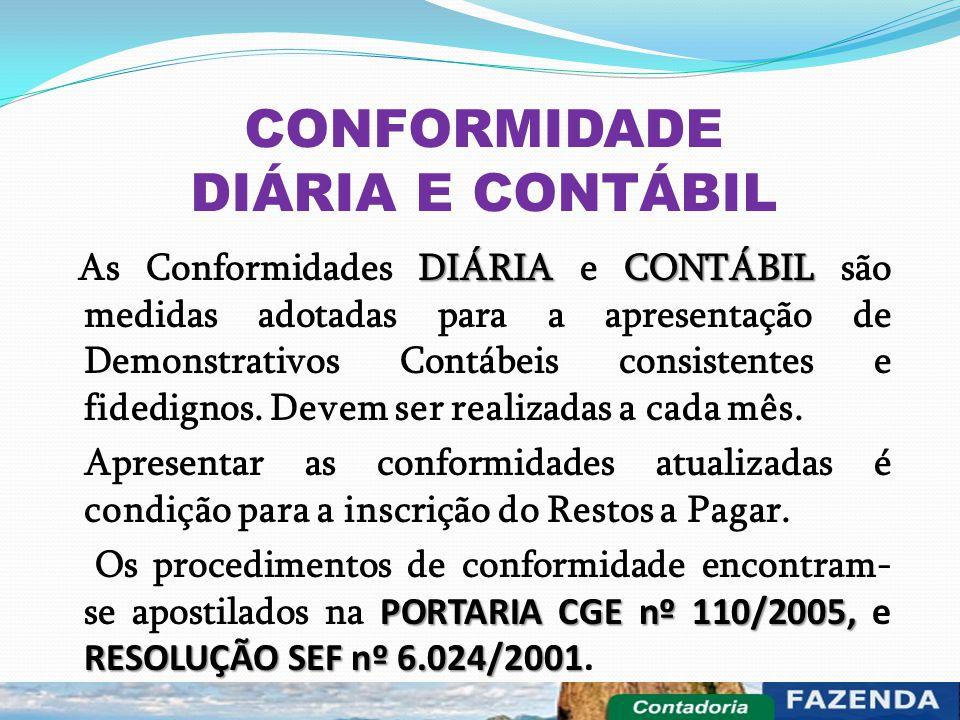 CONFORMIDADE DIÁRIA E CONTÁBIL DIÁRIA CONTÁBIL As Conformidades DIÁRIA e CONTÁBIL são medidas adotadas para a apresentação de Demonstrativos Contábeis