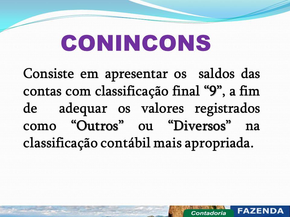 """CONINCONS """"9"""" """"Outros"""" """"Diversos"""" Consiste em apresentar os saldos das contas com classificação final """"9"""", a fim de adequar os valores registrados com"""