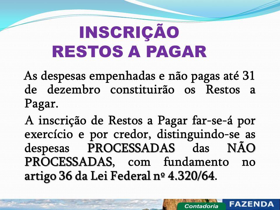INSCRIÇÃO RESTOS A PAGAR As despesas empenhadas e não pagas até 31 de dezembro constituirão os Restos a Pagar. PROCESSADASNÃO PROCESSADAS artigo 36 da