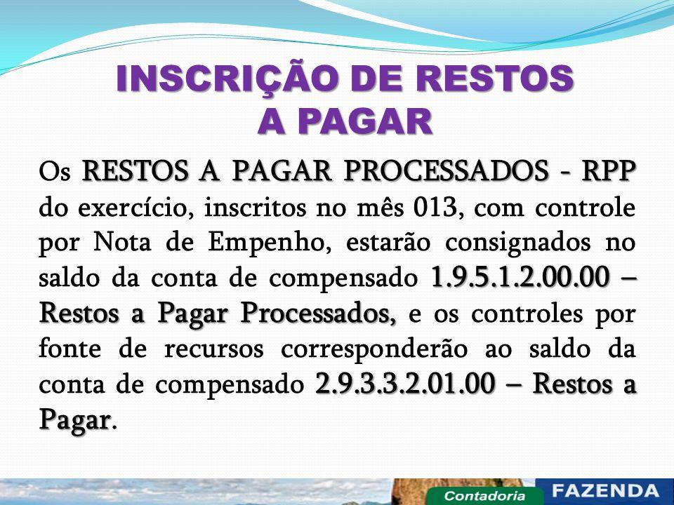 INSCRIÇÃO DE RESTOS A PAGAR RESTOS A PAGAR PROCESSADOS - RPP 1.9.5.1.2.00.00 – Restos a Pagar Processados, 2.9.3.3.2.01.00 – Restos a Pagar Os RESTOS