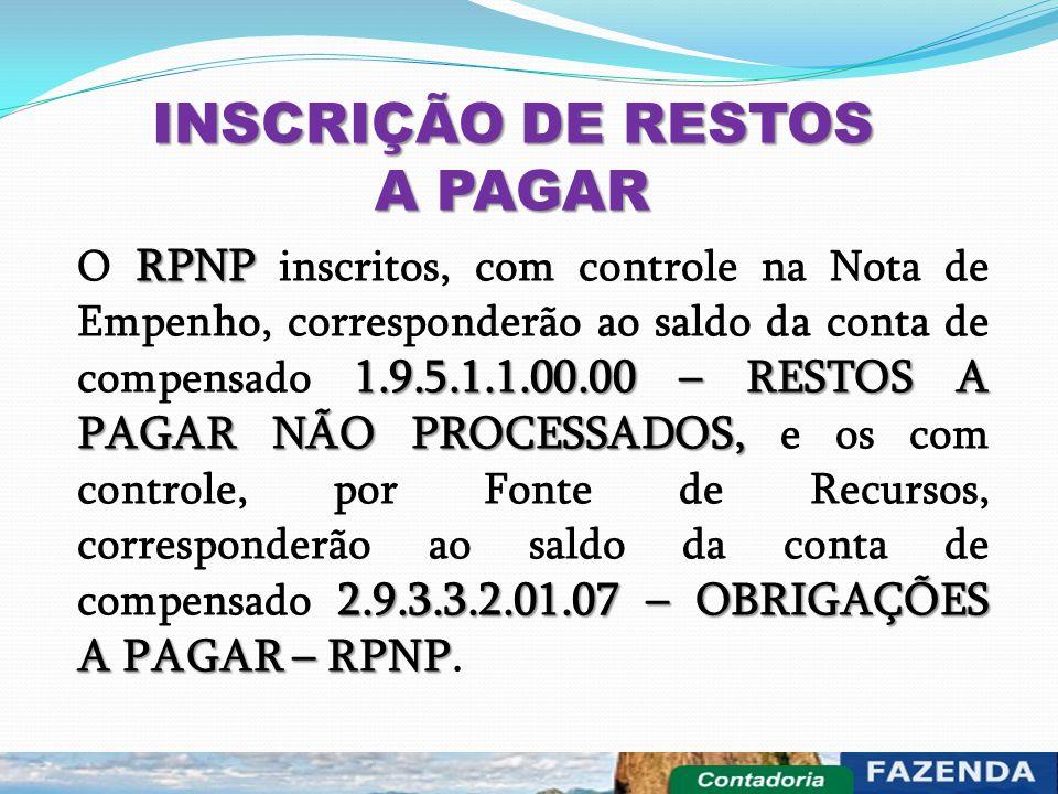 INSCRIÇÃO DE RESTOS A PAGAR RPNP 1.9.5.1.1.00.00 – RESTOS A PAGAR NÃO PROCESSADOS, 2.9.3.3.2.01.07 – OBRIGAÇÕES A PAGAR – RPNP O RPNP inscritos, com c