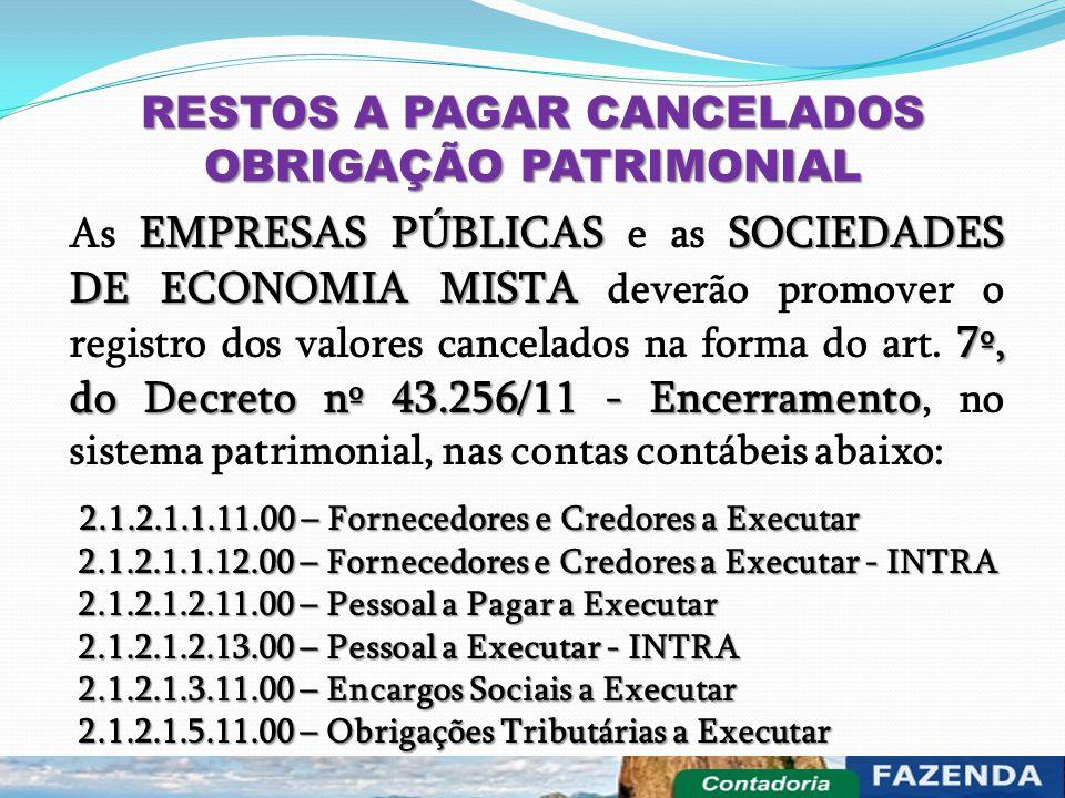 RESTOS A PAGAR CANCELADOS OBRIGAÇÃO PATRIMONIAL EMPRESAS PÚBLICASSOCIEDADES DE ECONOMIA MISTA 7º, do Decreto nº 43.256/11 - Encerramento As EMPRESAS P