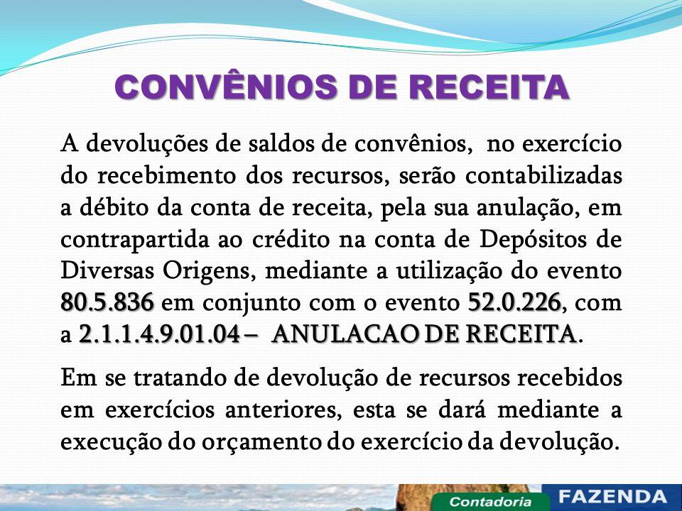 CONVÊNIOS DE RECEITA 80.5.83652.0.226 2.1.1.4.9.01.04 – ANULACAO DE RECEITA A devoluções de saldos de convênios, no exercício do recebimento dos recur