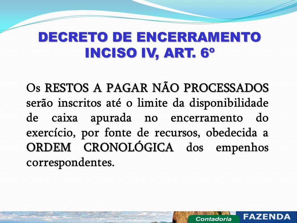 DECRETO DE ENCERRAMENTO INCISO IV, ART. 6º RESTOS A PAGAR NÃO PROCESSADOS ORDEM CRONOLÓGICA Os RESTOS A PAGAR NÃO PROCESSADOS serão inscritos até o li