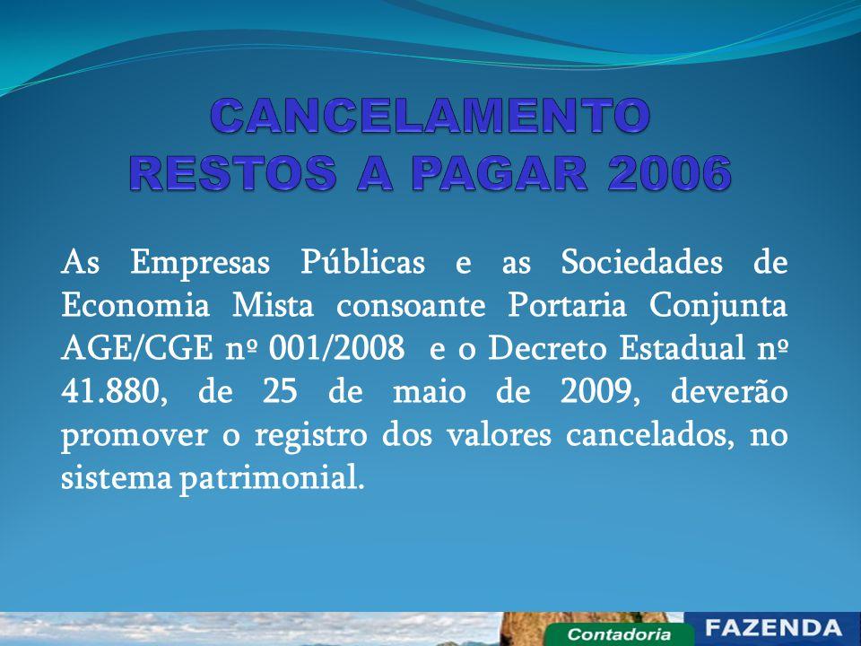 As Empresas Públicas e as Sociedades de Economia Mista consoante Portaria Conjunta AGE/CGE nº 001/2008 e o Decreto Estadual nº 41.880, de 25 de maio d
