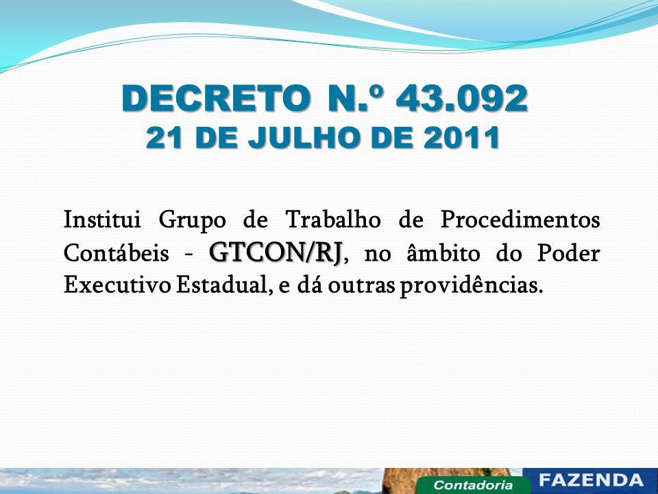 DECRETO N.º 43.092 21 DE JULHO DE 2011 GTCON/RJ Institui Grupo de Trabalho de Procedimentos Contábeis - GTCON/RJ, no âmbito do Poder Executivo Estadua