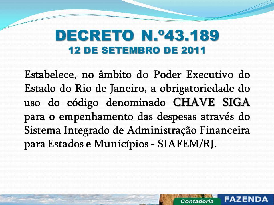 DECRETO N.º43.189 12 DE SETEMBRO DE 2011 CHAVE SIGA Estabelece, no âmbito do Poder Executivo do Estado do Rio de Janeiro, a obrigatoriedade do uso do