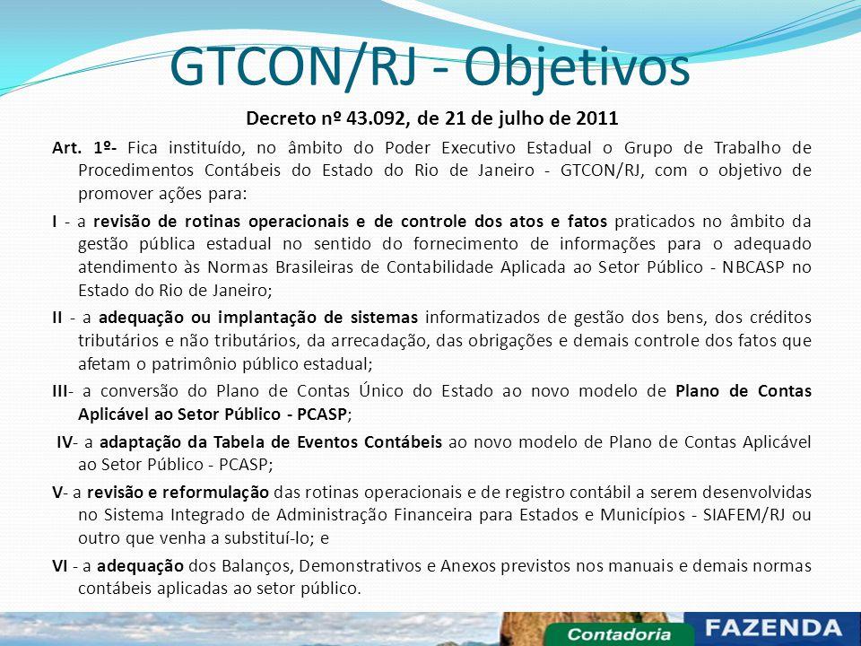 GTCON/RJ - Objetivos Decreto nº 43.092, de 21 de julho de 2011 Art. 1º- Fica instituído, no âmbito do Poder Executivo Estadual o Grupo de Trabalho de