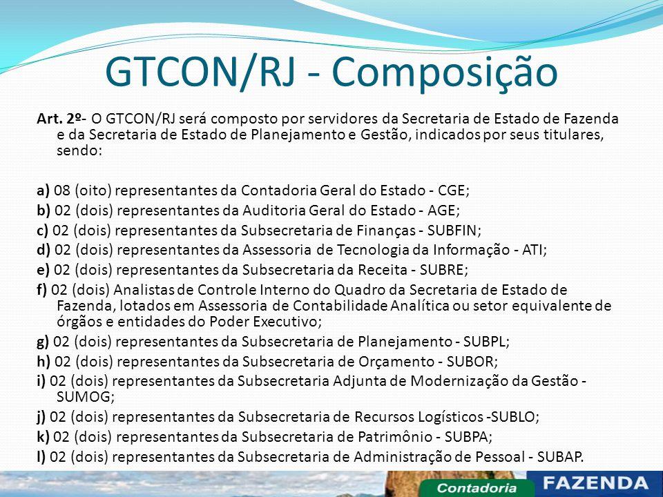 GTCON/RJ - Composição Art. 2º- O GTCON/RJ será composto por servidores da Secretaria de Estado de Fazenda e da Secretaria de Estado de Planejamento e