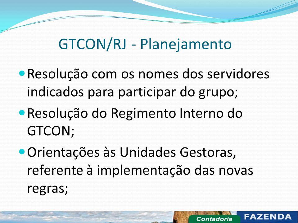 GTCON/RJ - Planejamento Resolução com os nomes dos servidores indicados para participar do grupo; Resolução do Regimento Interno do GTCON; Orientações