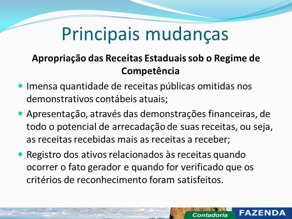 Principais mudanças Apropriação das Receitas Estaduais sob o Regime de Competência Imensa quantidade de receitas públicas omitidas nos demonstrativos