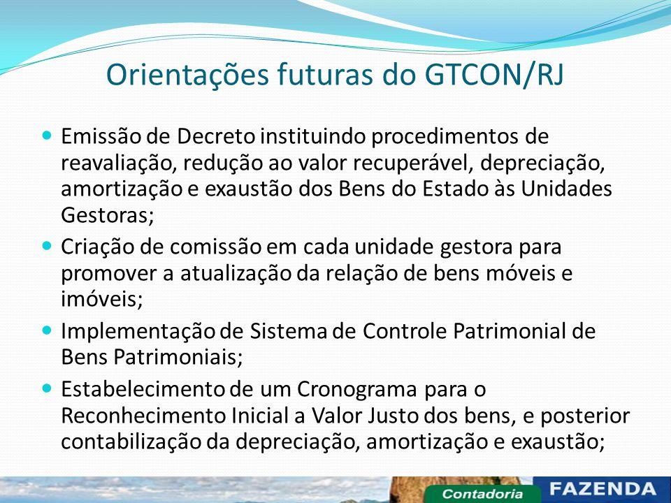 Orientações futuras do GTCON/RJ Emissão de Decreto instituindo procedimentos de reavaliação, redução ao valor recuperável, depreciação, amortização e