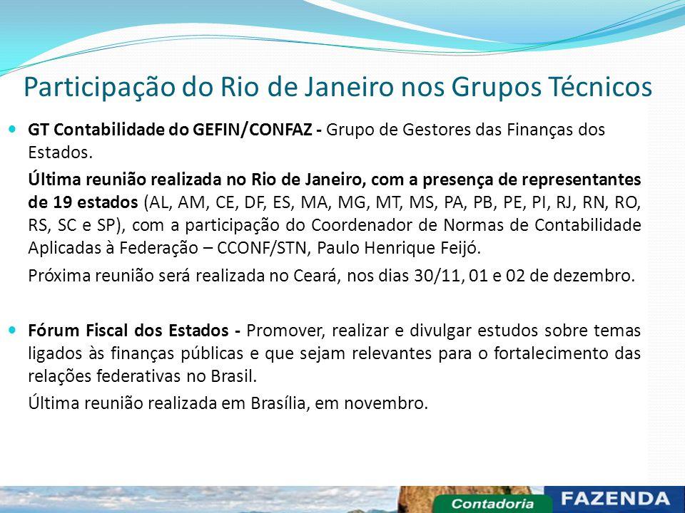 GT Contabilidade do GEFIN/CONFAZ - Grupo de Gestores das Finanças dos Estados. Última reunião realizada no Rio de Janeiro, com a presença de represent