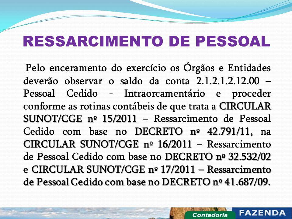RESSARCIMENTO DE PESSOAL CIRCULAR SUNOT/CGE nº 15/2011 DECRETO nº 42.791/11, CIRCULAR SUNOT/CGE nº 16/2011 DECRETO nº 32.532/02 e CIRCULAR SUNOT/CGE n