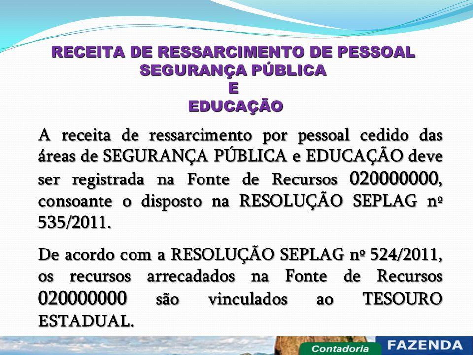 RECEITA DE RESSARCIMENTO DE PESSOAL SEGURANÇA PÚBLICA E EDUCAÇÃO EDUCAÇÃO A receita de ressarcimento por pessoal cedido das áreas de SEGURANÇA PÚBLICA