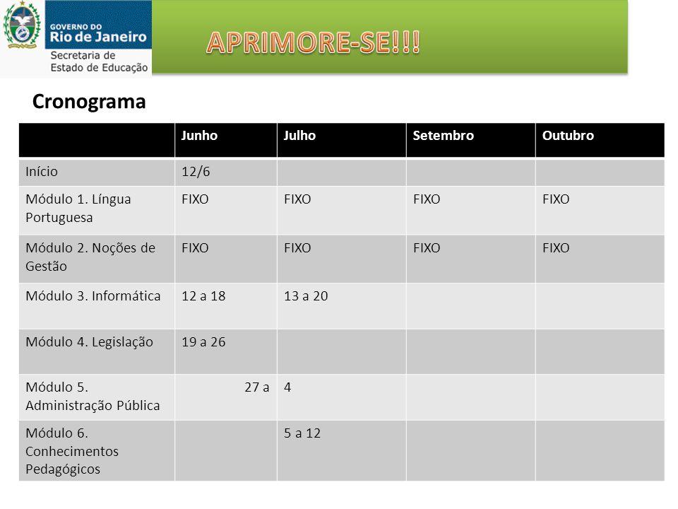 Cronograma JunhoJulhoSetembroOutubro Início12/6 Módulo 1. Língua Portuguesa FIXO Módulo 2. Noções de Gestão FIXO Módulo 3. Informática12 a 1813 a 20 M