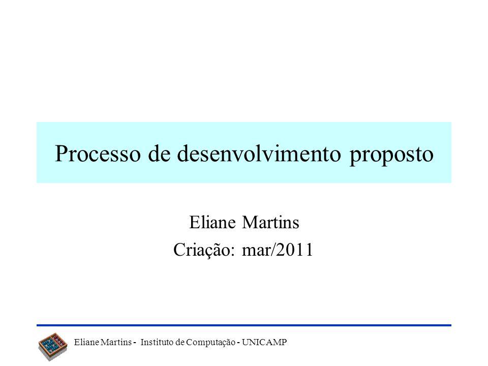 Eliane Martins - Instituto de Computação - UNICAMP Processo de desenvolvimento proposto Eliane Martins Criação: mar/2011