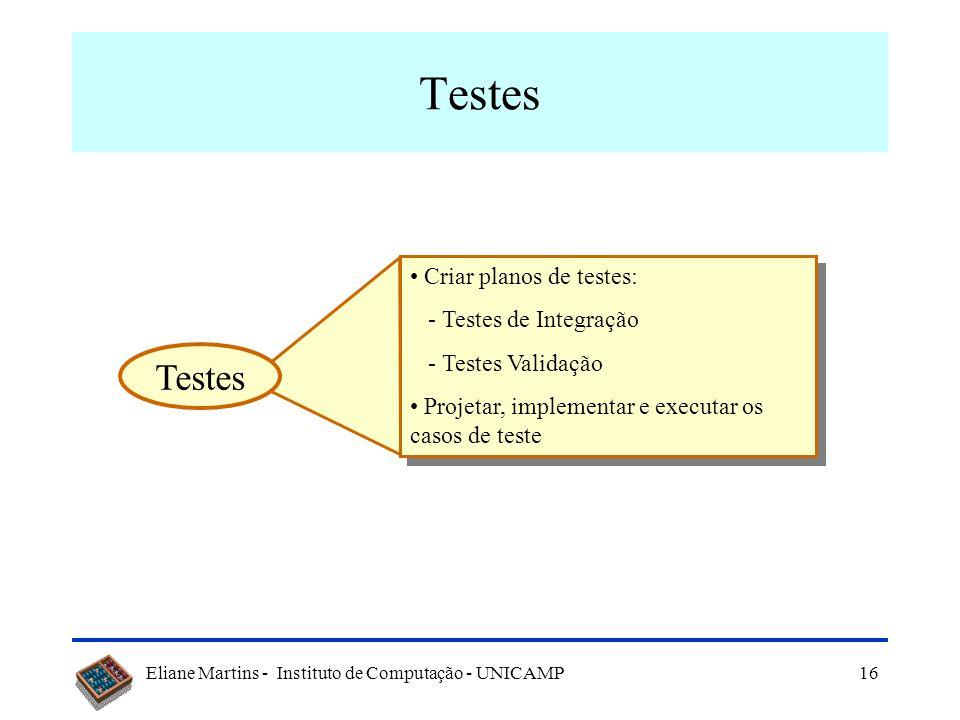 Eliane Martins - Instituto de Computação - UNICAMP16 Testes Criar planos de testes: - Testes de Integração - Testes Validação Projetar, implementar e executar os casos de teste Criar planos de testes: - Testes de Integração - Testes Validação Projetar, implementar e executar os casos de teste