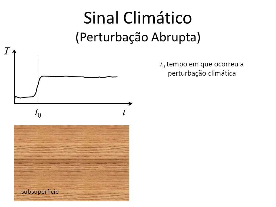 Sinal Climático (Perturbação Abrupta) subsuperfície T tt0t0 t 0 tempo em que ocorreu a perturbação climática