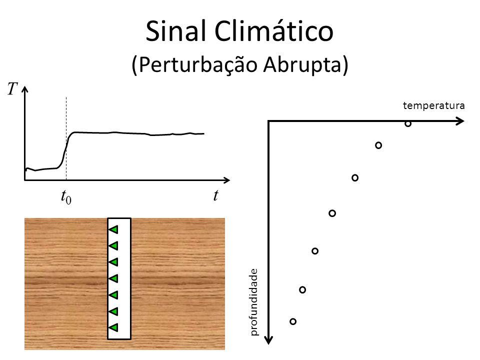 Sinal Climático (Perturbação Abrupta) T tt0t0 temperatura profundidade