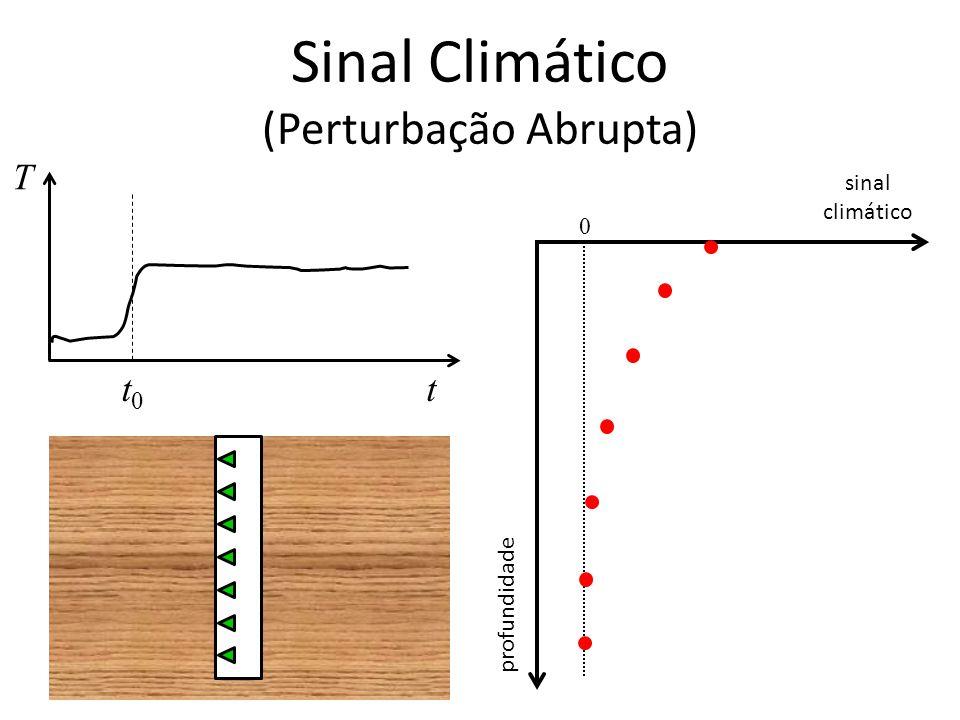 Sinal Climático (Perturbação Abrupta) T tt0t0 sinal climático profundidade 0
